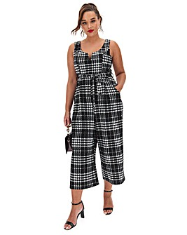 Apricot Monochrome Check Design Jumpsuit
