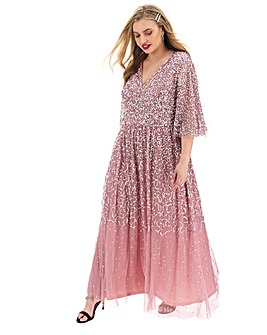 Maya Curve V Neck Sequin Maxi Dress