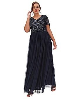 Maya Curve Sequin Waistband Tulle Maxi Skirt