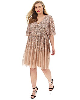 Maya Curve Sequin V Neck Dress