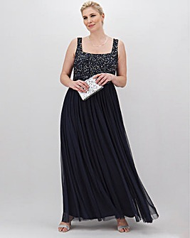 Maya Curve Square Neck Sequin Maxi Dress With Tulle Skirt