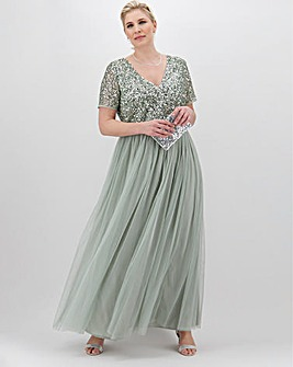 Maya Curve Short Sleeve Sequin Maxi Dress with Tulle Skirt