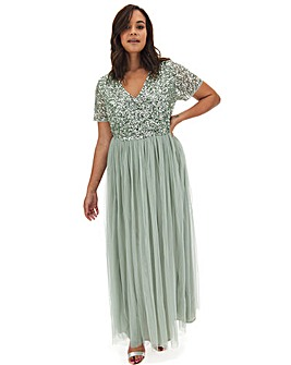 Maya Curve Short Sleeve Sequin Maxi