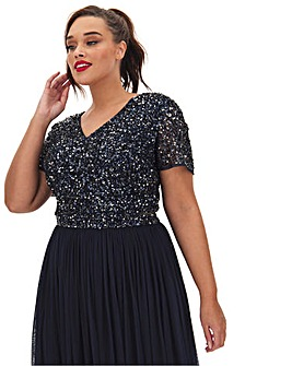 Maya Curve Short Sleeve Sequin Top