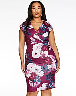 Quiz Curve Floral Print Dress
