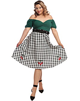 Collectif Cherry Vintage Gingham Skirt