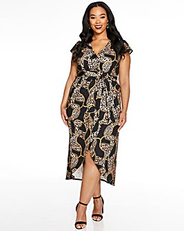 Quiz Scarf Print Wrap Midi Dress