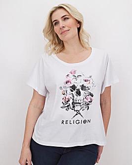 Religion Skull and Flower Print T-Shirt