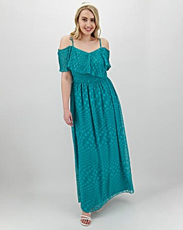 Little Mistress Jade Cold Shoulder Maxi Dress