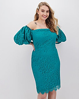 Little Mistress Puff Sleeve Lace Knee Length Dress