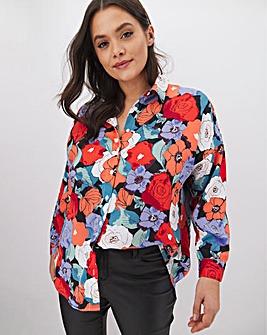 Glamorous Floral Print Dip Hem Blouse