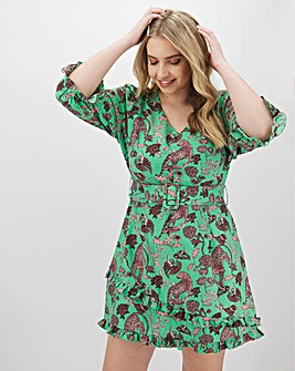 Glamorous Bright Jungle Print Skater Dress