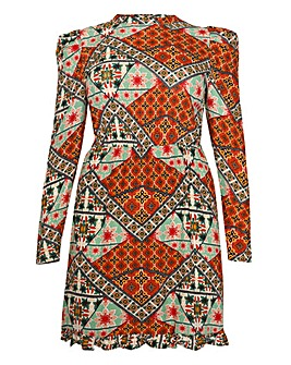 Glamorous Patchwork Print Skater Dress