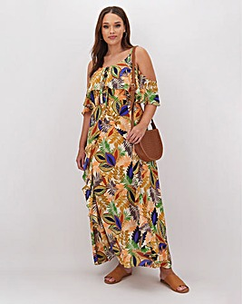 Glamorous Leaf Design Flowing Maxi Dress