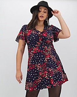 Oasis Ditsy Floral Ruffle Tea Dress