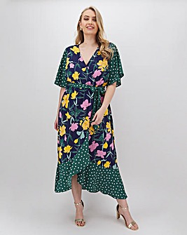 Lovedrobe Mixed Print Midi Wrap Dress