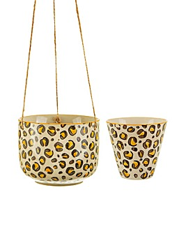 Sass & Belle Set of 2 Leopard Planter