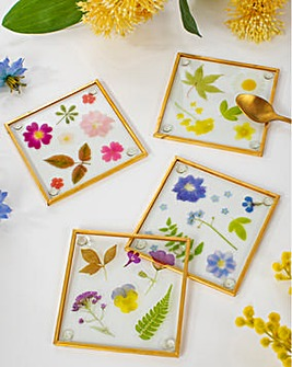 Sass & Belle Pressed Flowers Glass Coasters