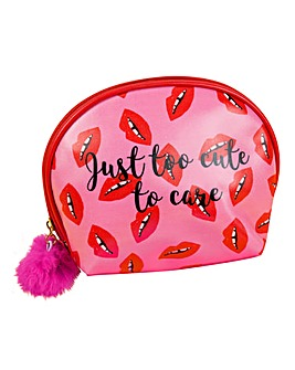 Lips' Cosmetic Bag with Pom Pom Zipper