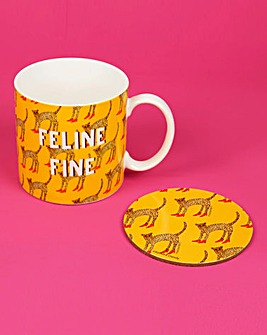 Feline Fine Mug & Coaster Set