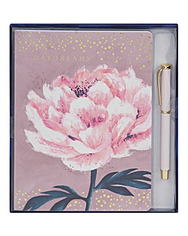 Pink Floral A5 Notepad and Pen Set