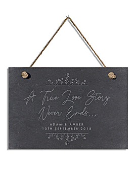 Personalised True Love Story Slate Sign