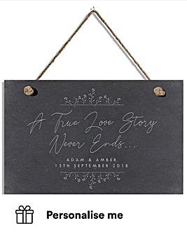 Personalised True Love Story Slate Sign