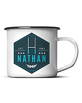 Personalised Rugby Enamel Mug