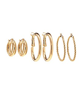 Gold Plated Rope Effect Hoop Earrings - Pack Of 3
