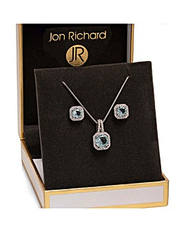Silver Plated Aqua Blue Crystal Square Drop Set - Gift Boxed