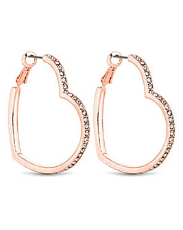 Lipsy Rose Gold Heart Hoop Earring