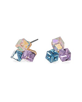 Gold Plated Pink & Blue Crystal Triple Cube Studs Made With Swarovski Crystals