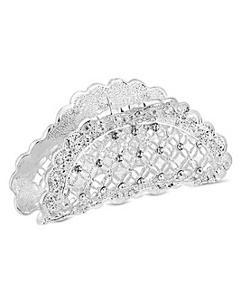 Silver Plated Clear  Floral Bulldog Pin / Clip  Hair
