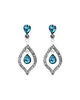 Mood Silver Blue Crystal Tear Earring