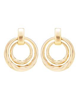 Mood Gold Textured Doorknocker Earring