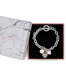 Lipsy Silver  Tri Tone T Bar Bracelet
