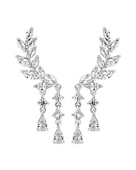 Silver Plated Clear  Ear Climber Drop Earring