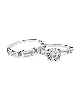 Silver Plated Engagement Ring Set