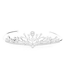 Silver Plated Cubic Zirconia Statement Crown Tiara