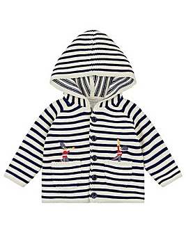 Monsoon New Born Joey Stripe Cardigan