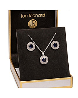 Jon Richard Silver Blue Double Halo Set