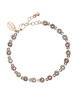 Rose Gold Plated Pink Tennis Bracelet Embellished With Swarovski Crystals