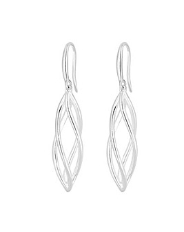 Simply Silver Polished Cage Drop Earring