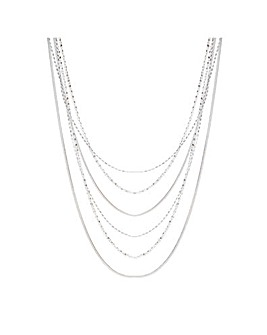 Mood Silver Chain Mulitrow Necklace