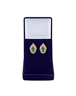 Gold Plated Emerald Green Cubic Zirconia Stud Earring - Gift Boxed
