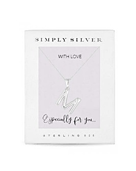 Sterling Silver 925 Polished Alphabet Necklace - Letter M
