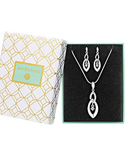 Silver Plated Crystal Infinity Drop Set - Gift Boxed