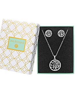 Silver Plated Crystal Tree Of Life Set - Gift Boxed