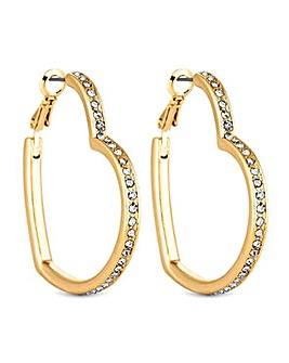 Lipsy Gold Crystal Heart Hoop Earring