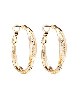 Gold Textured Cross Over Hoop Earring